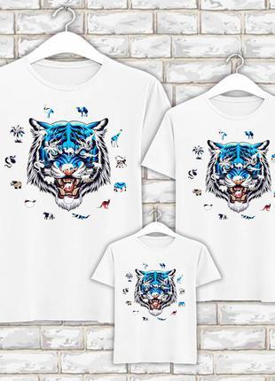 Футболки новогодние фэмили лук family look для всей семьи синий тигр. силуэты животных push фп00783