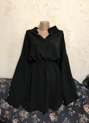 Платье рубашка с длинными рукавами чёрное мини короткое свободное на резинке с вырезом