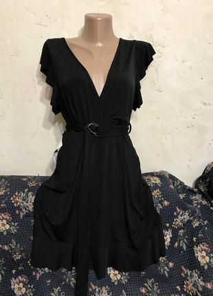 Платье чёрное с рюшами с воланами миди с поясом с открытой спиной с вырезом свободное