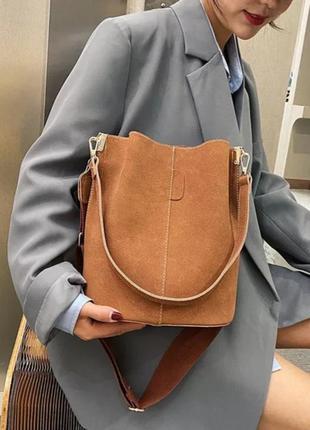 Сумка женская из эко кожи, сумка мешок, рыже-коричневый цвет.