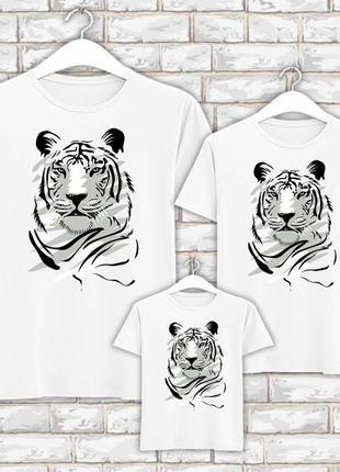 Футболки новогодние фэмили лук family look для всей семьи черно-белый тигр push it фп007844