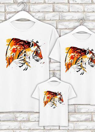 Футболки новогодние фэмили лук family look для всей семьи цветной тигр push it фп007845