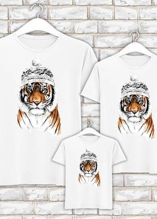 Футболки новогодние фэмили лук family look для всей семьи тигр в зимней шапке push it фп007847