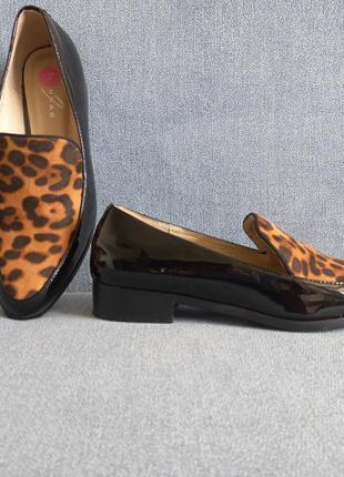 Шикарные лоферы туфли мокасины лак и леопард