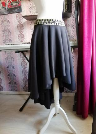 Черная шикарная вечерняя юбка ассиметричной длинны, шлейф