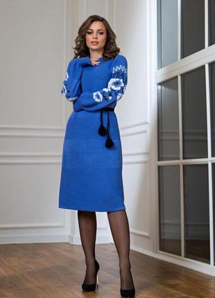 Теплое платье , платье в украинском стиле, шерстяное платье, синее платье