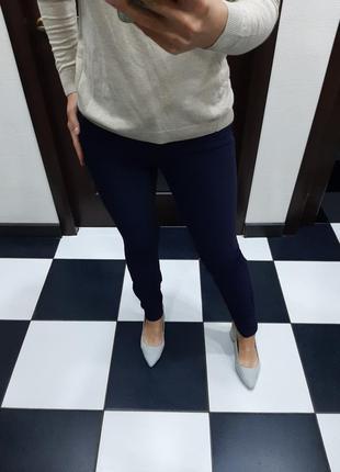 Massimo dutti синие классические стрейчевые брюки