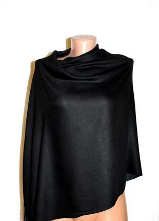 Палантин шаль шарф чёрный вискоза, 75 на 180 см
