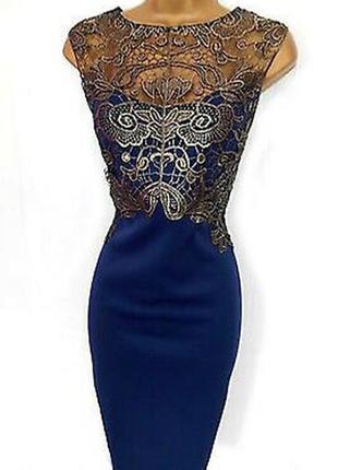 Красивейшее синее платье миди с кружевом