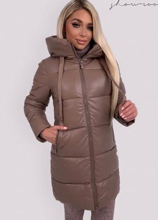Прекрасная курточка из эко кожи с капюшоном
