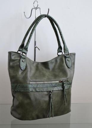 Сумка женская впереди карманы и вставка dudlin италия s00-0162