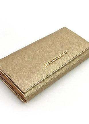 Золотистый кожаный кошелек женский классический на кнопке из натуральной кожи