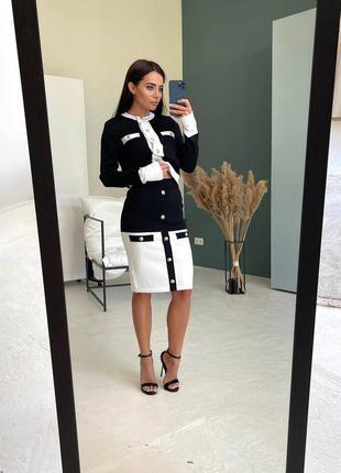 Костюм - двойка женский, кофта, юбка, черный с белым