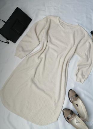 Тепле спортивне плаття з фактурного трикотажу сукня міді прямого крою оверсайз з довгим рукавом