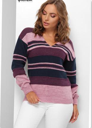 Теплый свитер с v образным вырезом, размер ун. 44-48, шерсть/акрил