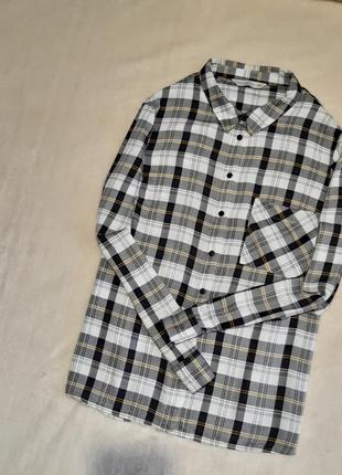 Новая натуральная рубашка в клетку длинный рукав батал вискоза f&f р.18