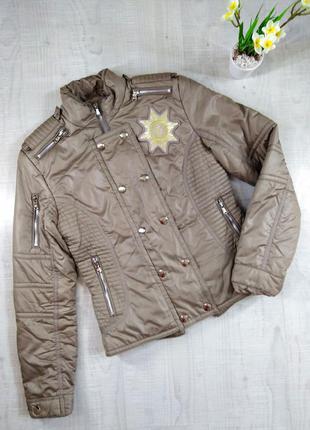 Женская демисезонная куртка на синтепоне, бежевая