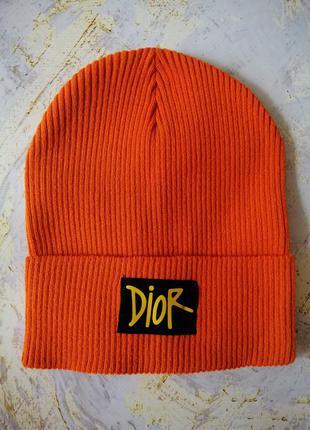 Брендовая оранжевая шапочка бини рубчик с подворотом