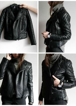 Чёрная кожанка курточка косуха из плотного кожзама hm
