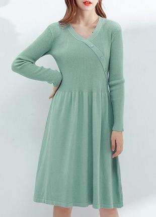 Оливкова сукня плаття рубчик 🍁🍂