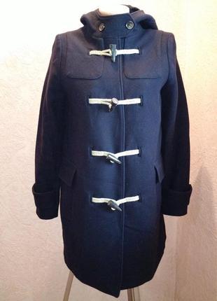 Темно-синее пальто-дафлкоат с капюшоном massimo dutti