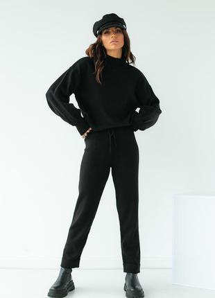 Трикотажный костюм-двойка кофта и штаны, цвет черный