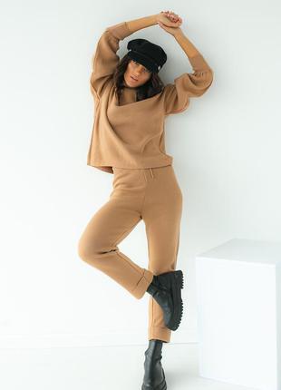 Трикотажный костюм-двойка кофта и штаны, цвет светло-коричневый
