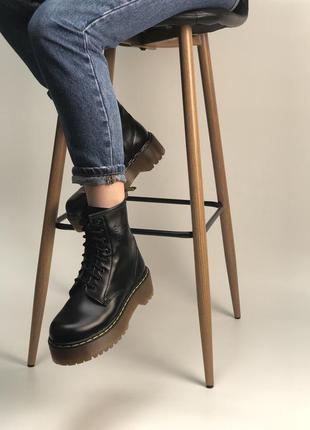 Демисезонные женские ботинки dr.martens jadon black кожа.