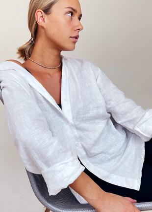 Льняная белоснежная базовая рубашка