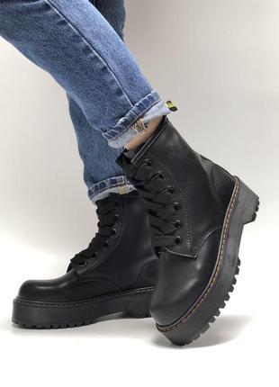 Демисезонные женские ботинки dr.martens molly black кожа.