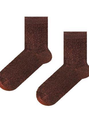 Женские носки люрекс sox коричневого цвета brown dust
