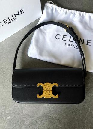 Кожаная сумка-багет в стиле celine triomphe селин триумф кожа