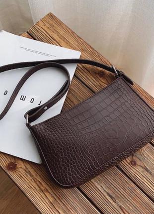 Сумка сумочка коричневая крокодил рельеф квадратная багет винтаж ретро