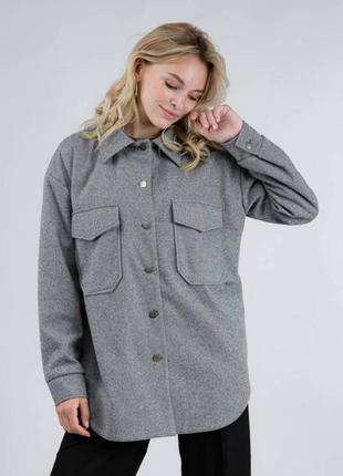 """Женская однотонная куртка-рубашка """"спрингфилд"""" серая"""