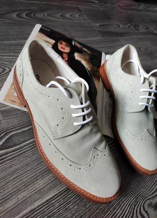 Оксфорды туфли мужские натуральная замша и кожа ментоловые подошва прошита от люксового лондонского бренда dune 41-42