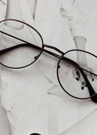 Ретро имиджевые очки с прозрачной линзой бронзовый