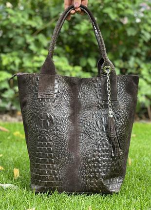 Замшевая коричневая сумка с печатью под крокодила, италия, цвета в ассортименте