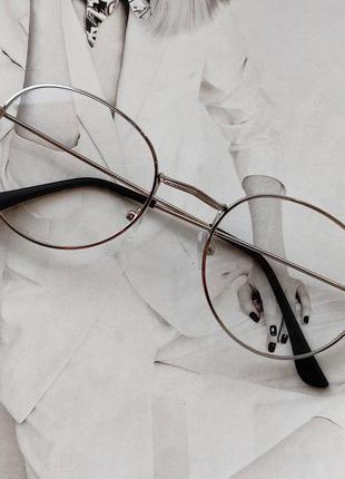 Ретро имиджевые очки с прозрачной линзой серебро