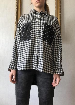 Рубашка лёгкая с паетками клечатая в горошек павлин