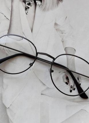 Ретро имиджевые очки с прозрачной линзой графит