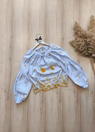 Рубашка хлопковая вышиванка zara p xs