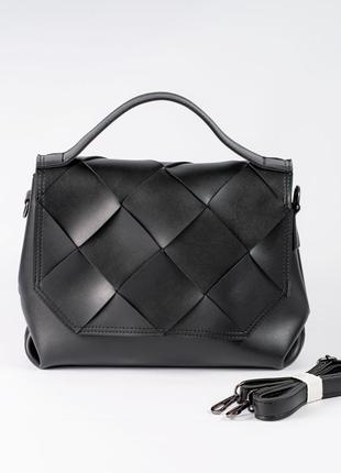 Молодежная черная плетеная сумочка портфель деловая женская модная сумка через плечо