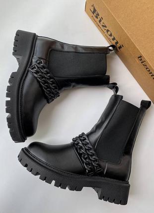Фабричные кожаные чёрные ботинки на осень 🍂