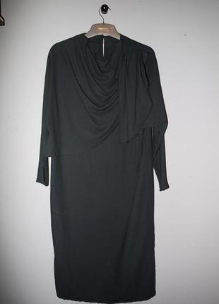 Платье ровного кроя миди  ( винтаж ) . цвет черный ( мокрый асфальт )