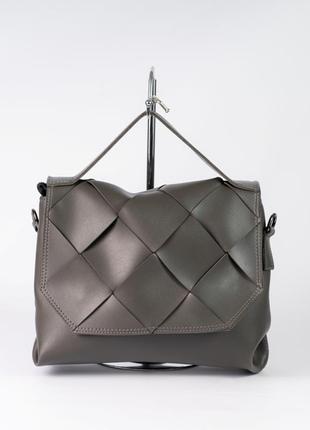 Серая модная сумка через плечо с ручкой молодежная сумочка портфель с клапаном плетеная
