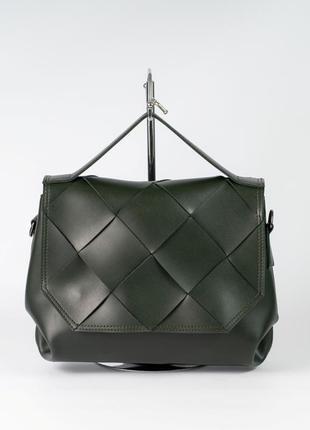 Сумка женская темно зеленая деловая модная плетеная сумочка портфель через плечо