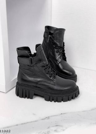 Чёрные кожаные женские грубые ботинки, осенние, деми, на платформе, р. 36-40