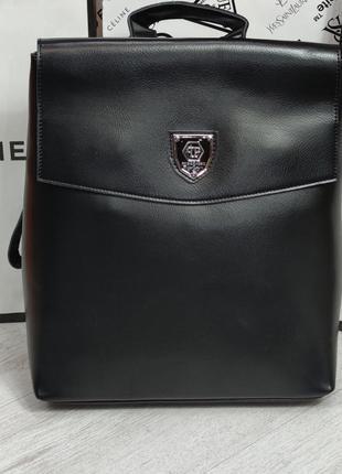 Жіночий шкіряний рюкзак в кольорах чорний