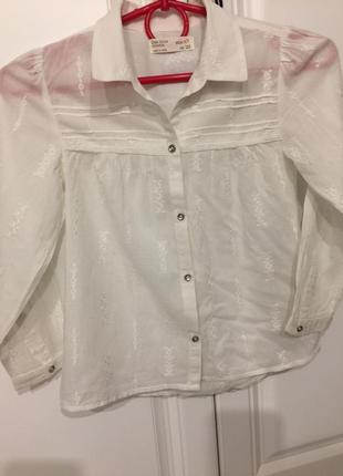 Рубашка вышитая zara 6-7 лет, рост 122