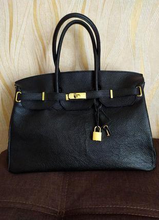 Черная большая кожаная сумка италия
